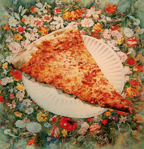 I just had to share this, these are a few of my favorite things! (minus the paper plate) niintheskywithburgers: Pizza & Flowers