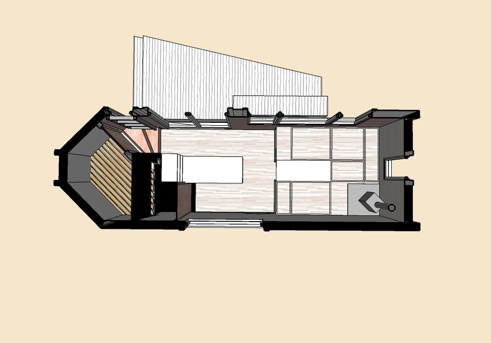 Floor plan showing the kitchen area