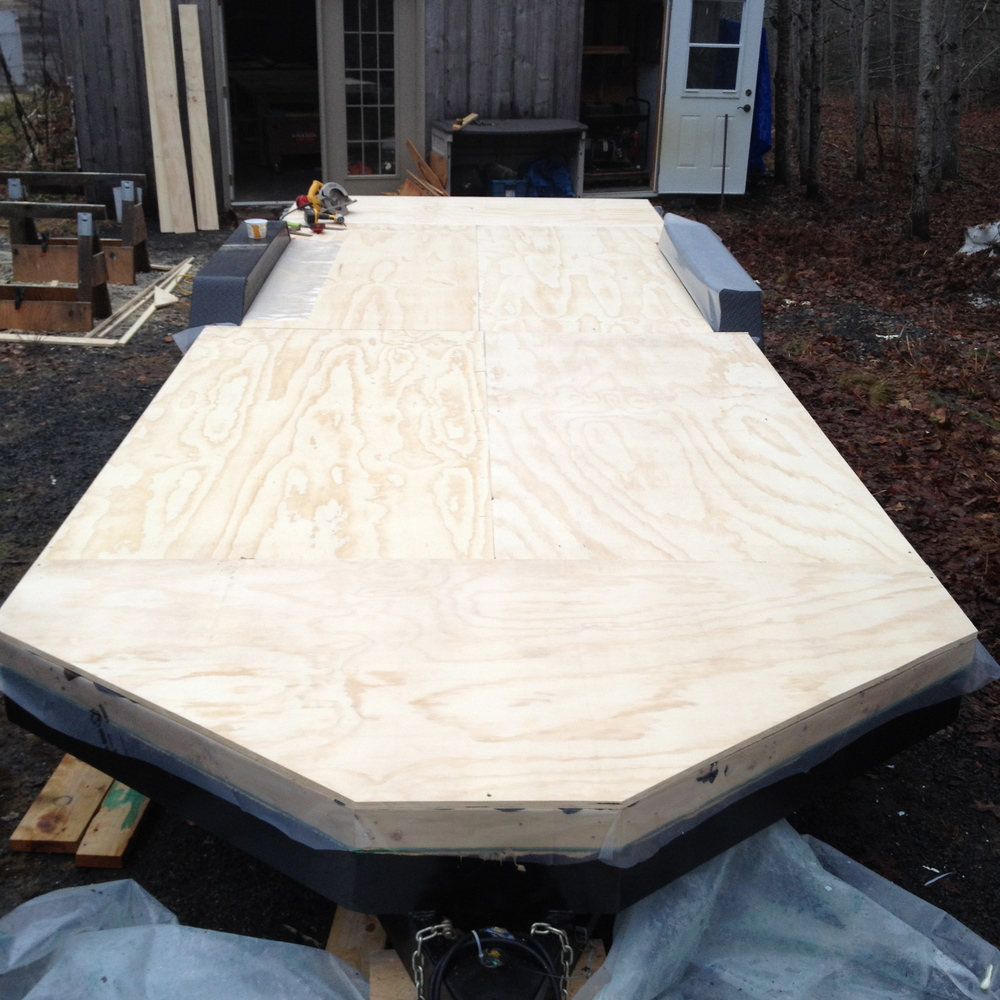 Subfloor of ¾ inch plywood