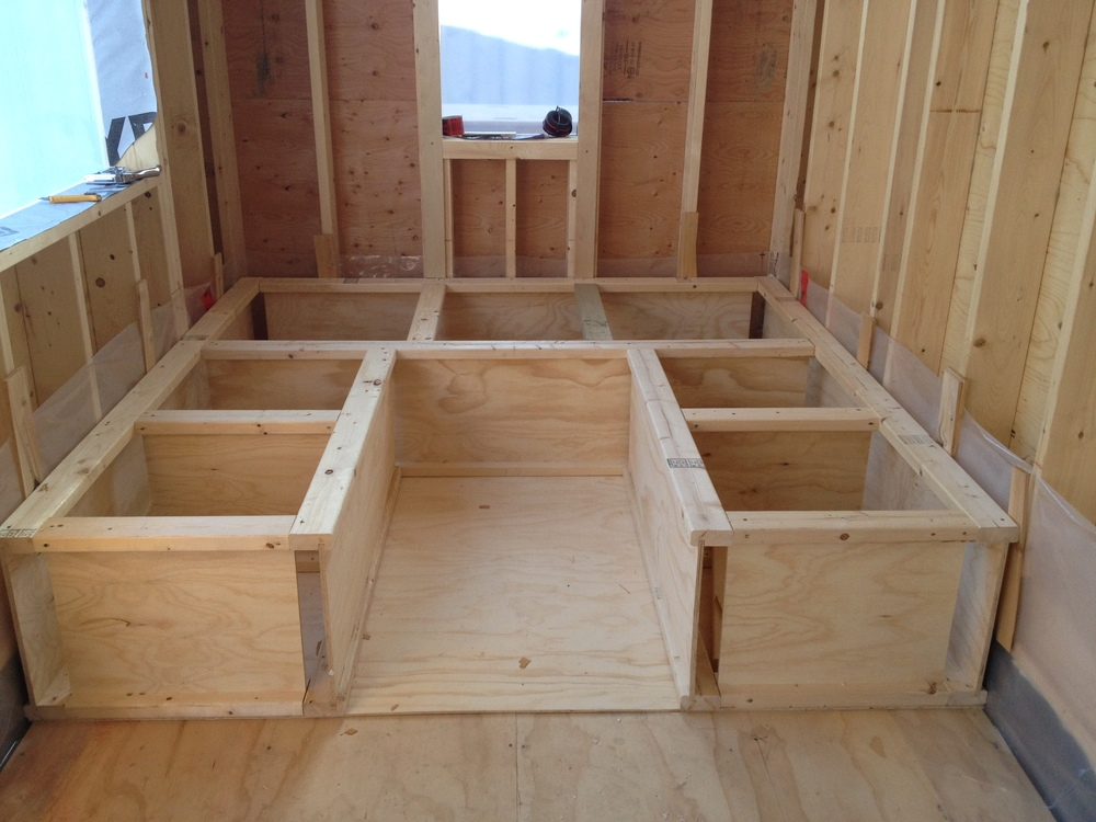 Rough in of the raised floor storage area