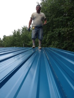 Jeffery helping with the roof