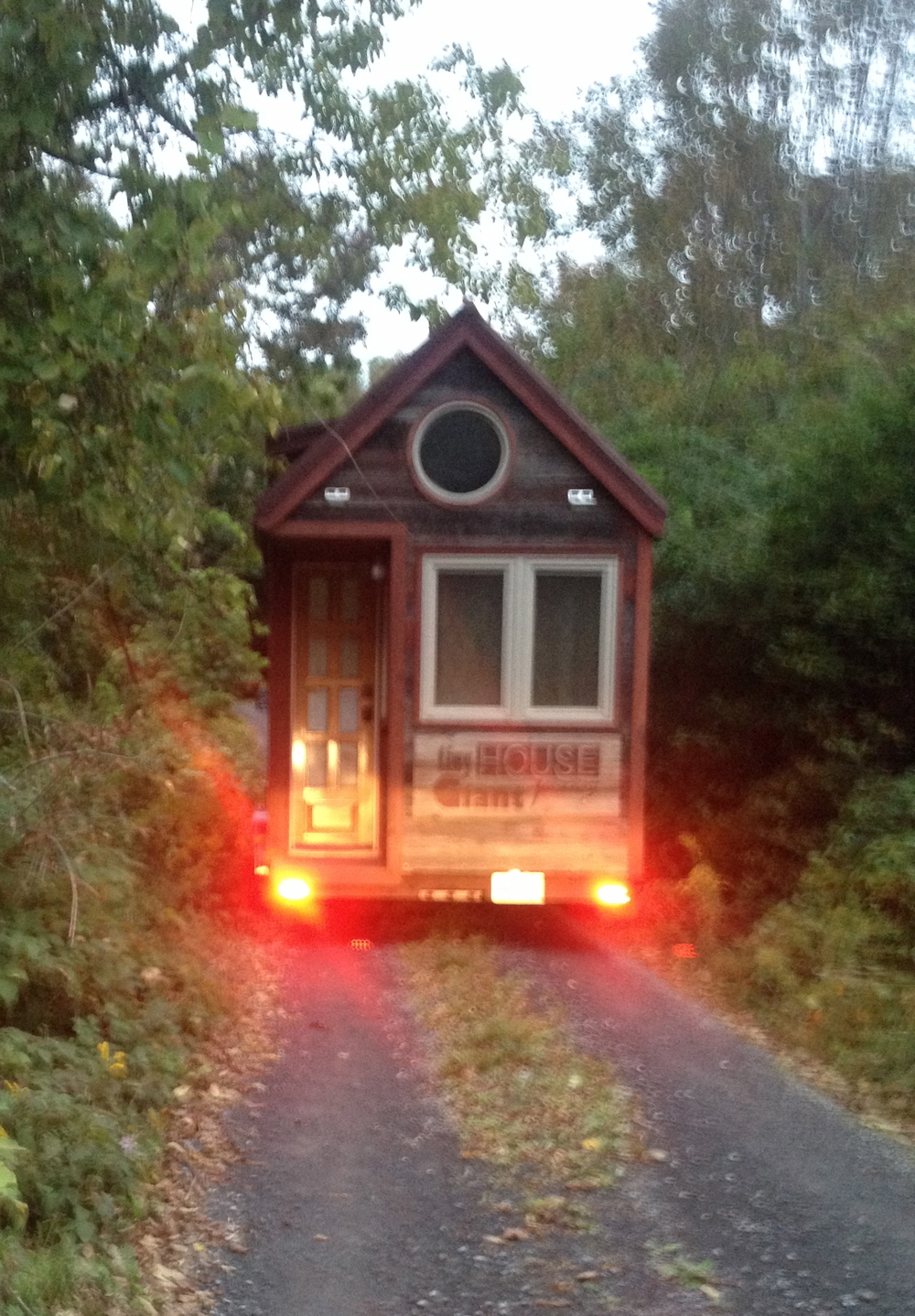 pulling in to Full Moon Tiny Shelters.