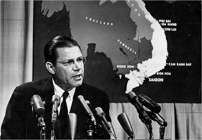 Secretary of Defense Robert McNamara at a news conference at the Pentagon in 1965. SOURCE:  NY Times