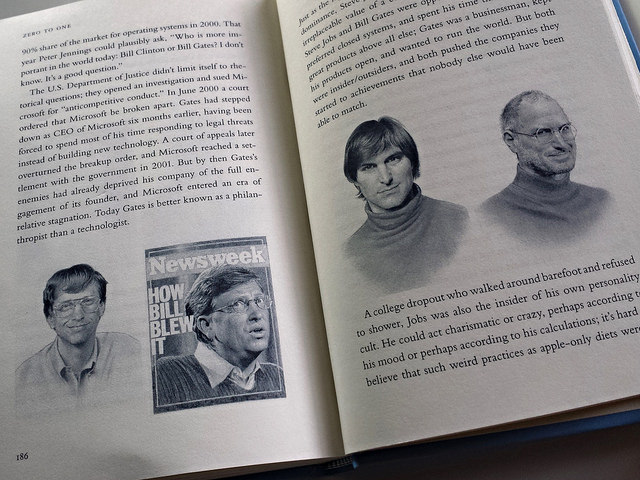 ABOVE: Pages from Peter Thiel's book on start-ups and changing the world. Illustrations by Matt Buck.