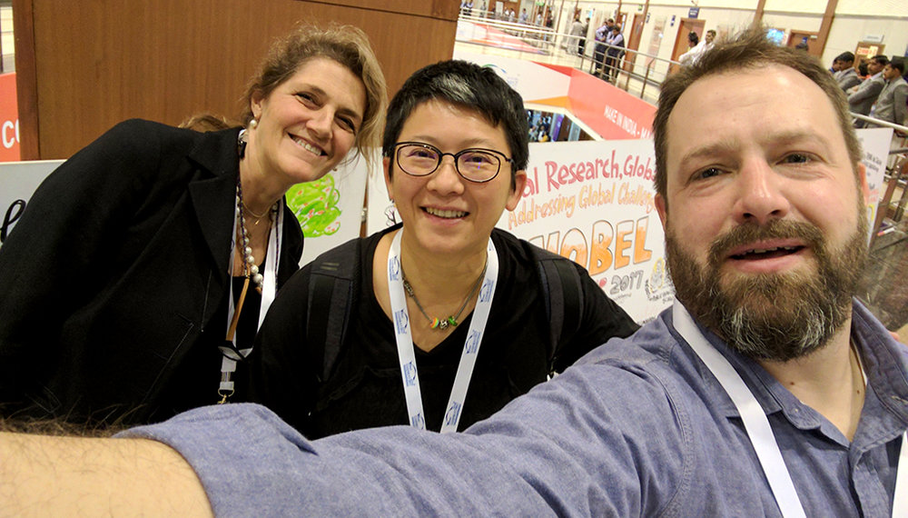 International scribe team: Lucia Fabriani (Italy), Jayce Lee (Taiwan), and Peter Durand