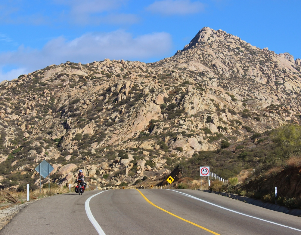Canadian Mike powers up a hill just south of Tecate, BCN.
