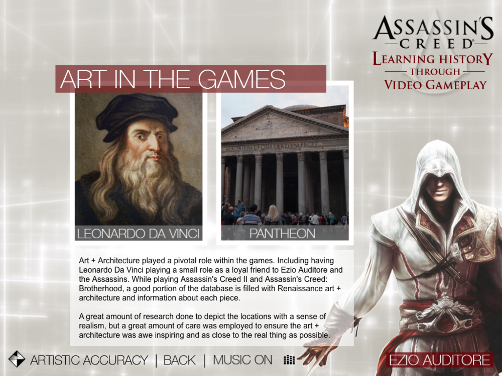 Assassin's Creed - Learning History   |   Artistic Accuracy - Art in the Games