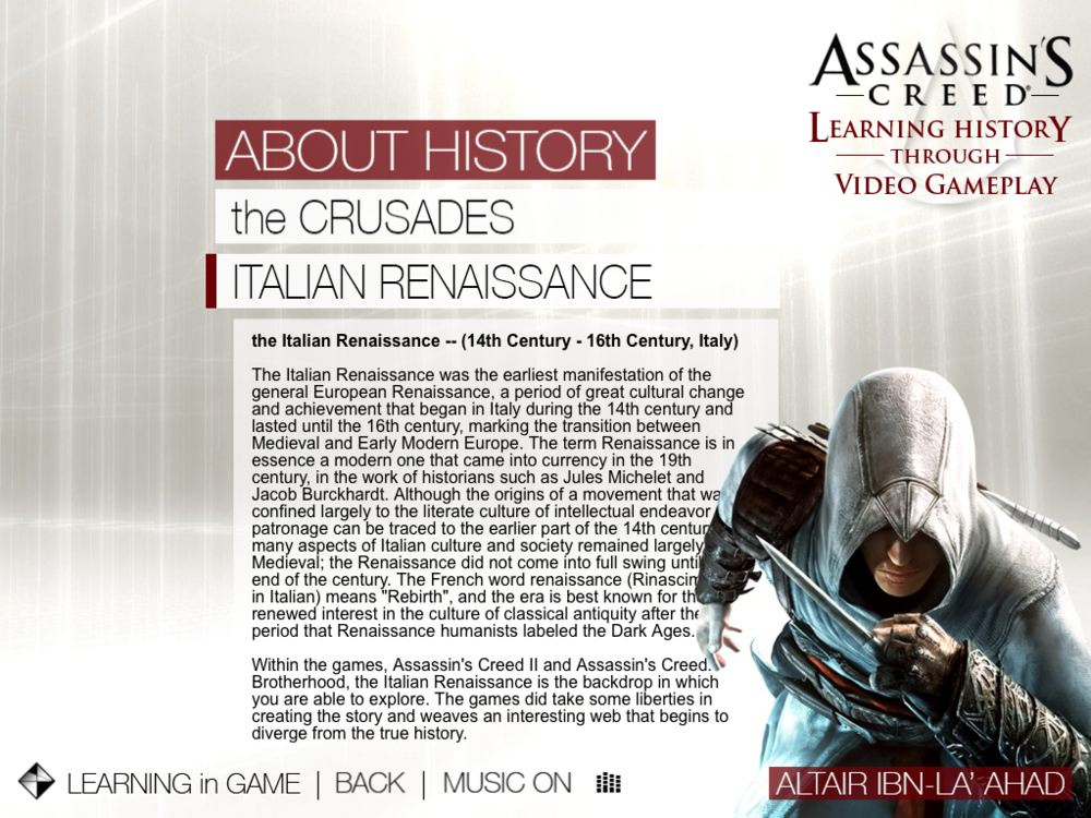 Assassin's Creed - Learning History   |   Learning in Game - Italian Renaissance