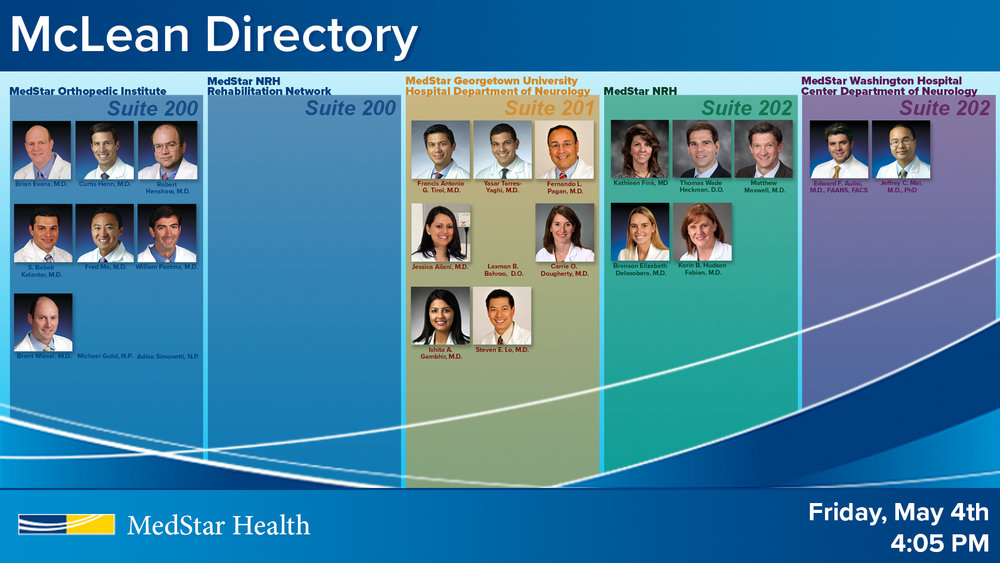 McLean Directory: Color coded to indicate suites and offices.