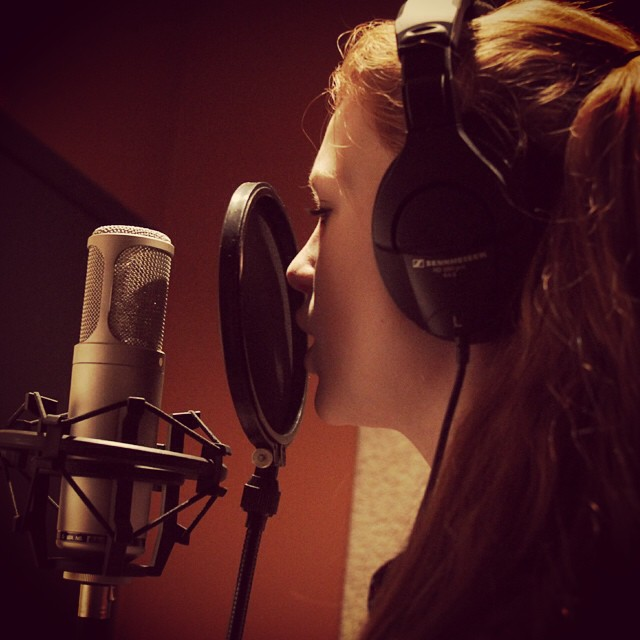 In the vocal booth at #songwerks working on new material #newmusic #singing #singer #tracking #amandabrommel