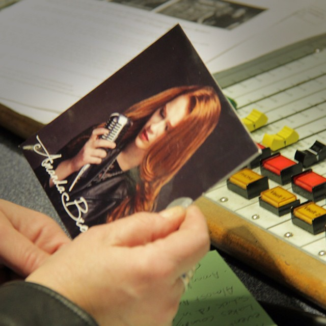 Wendy holding my EP during my interview on the Bill&Wendy show #WGN #WGNRadio720 #amandabrommel