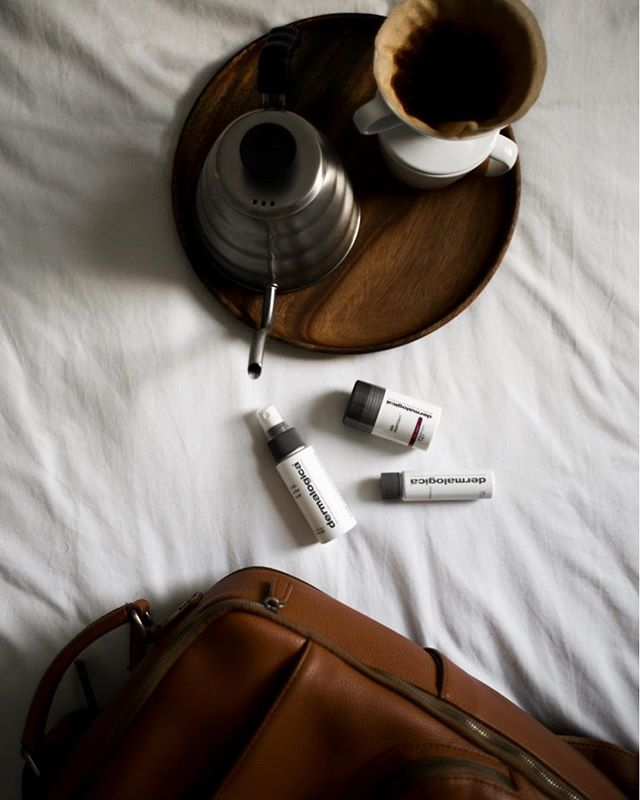 The Daily Essentials. | I'm spending a lot of my time traveling to and from the U.K. these days. Now whenever I pack my camera bag for a weekend wedding shoot or for a few weeks of traveling overseas, I make sure to pack my travel sized @dermalogica skincare. My favorite right now is the superfoliant, but there are so many unique options that would fit perfectly in your carry-on bag. I'll never stop traveling all over this beautiful planet, and now I'll never have to worry about my skin looking rough. | Cheers to taking care of yourself, inside and out! |Use the code LETSGO for 15% off travel kits. | #travelphotographer #dermonthego #dermalogicapartner #neverstopexploring #morningslikethese #weddingphotographer