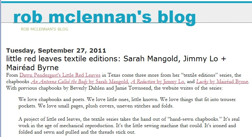 LRL Textile Reviews on rob mclennan's blog