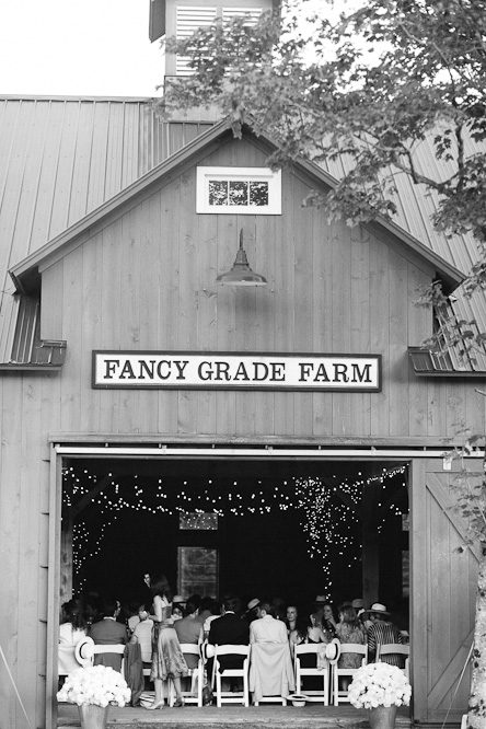 A view from outside of the Fancy Grade Farm during a wedding that the studio shot in Vermont.
