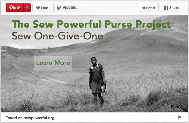 For Sewpowerful.org, Jason created a custom image and text that is both pinnable and actionable. Try it for your nonprofit!