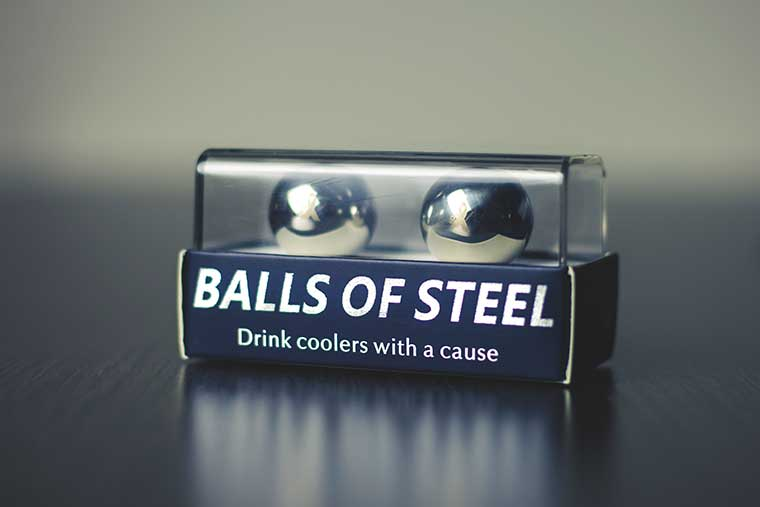 15 percent of the purchase price of the Balls of Steels Whiskey Chillers support testicular cancer cure research.