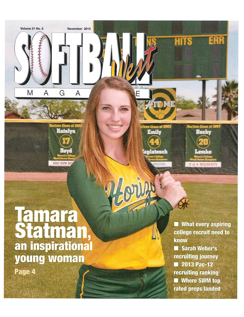 Tamara Statman on the cover of Softball West Magazine, November, 2013
