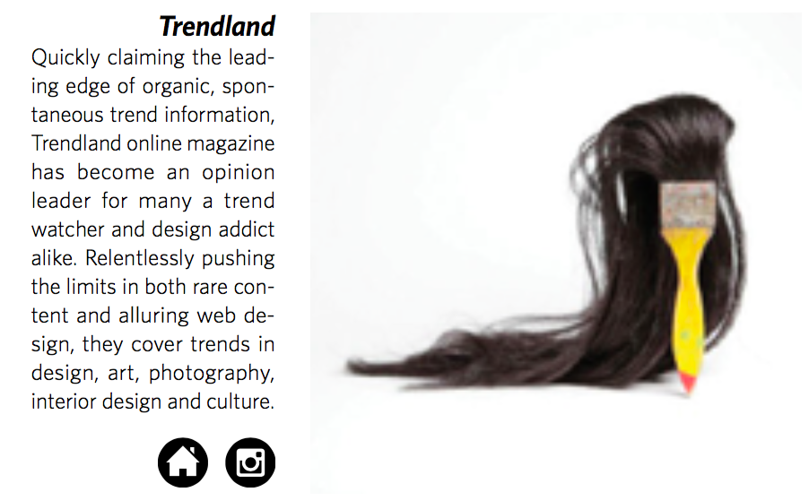 Trendland    Quickly claiming the lead- ing edge of organic, spon- taneous trend information, Trendland online magazine has become an opinion leader for many a trend watcher and design addict alike. Relentlessly pushing the limits in both rare con- tent and alluring web de- sign, they cover trends in design, art, photography, interior design and culture.