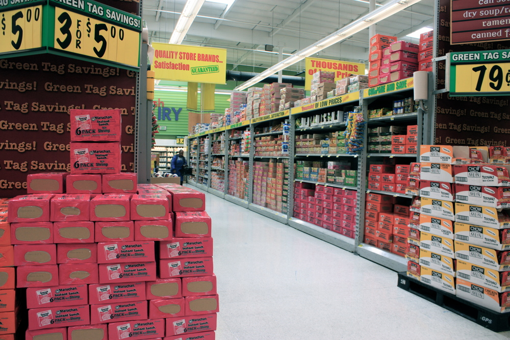 Marketing of processed foods at bargain prices.