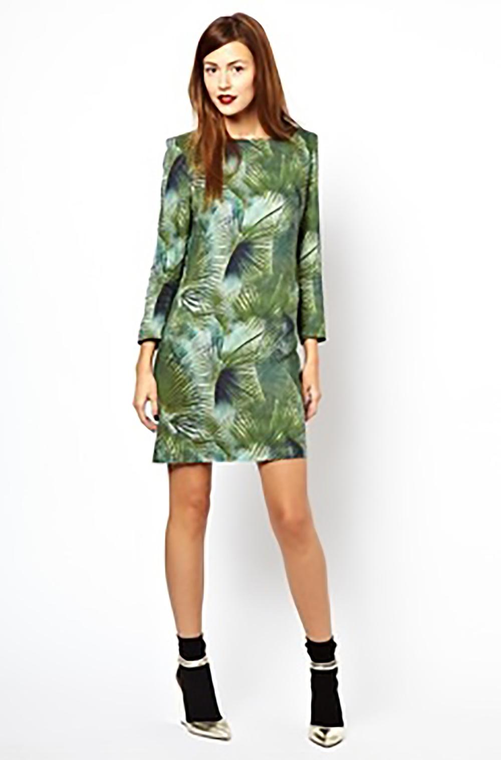 asos les prairies de paris 60s shift dress with padded shoulders in jungle short dresses 1500.jpg