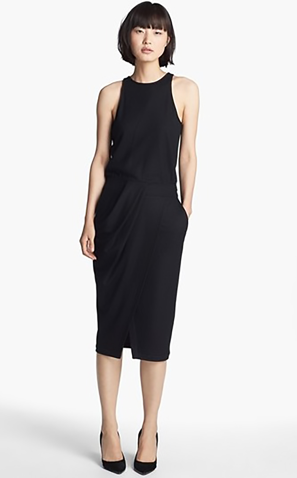 nordstrom helmut lang sonar wool drape front dress holiday party 1500.jpg
