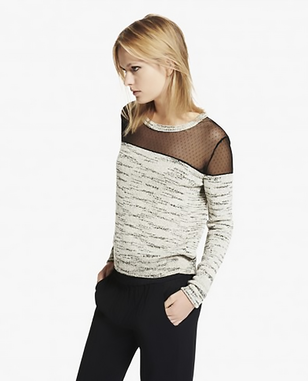 the kooples marl jumper with dotted fabric inset see thru shoulders 1500.jpg