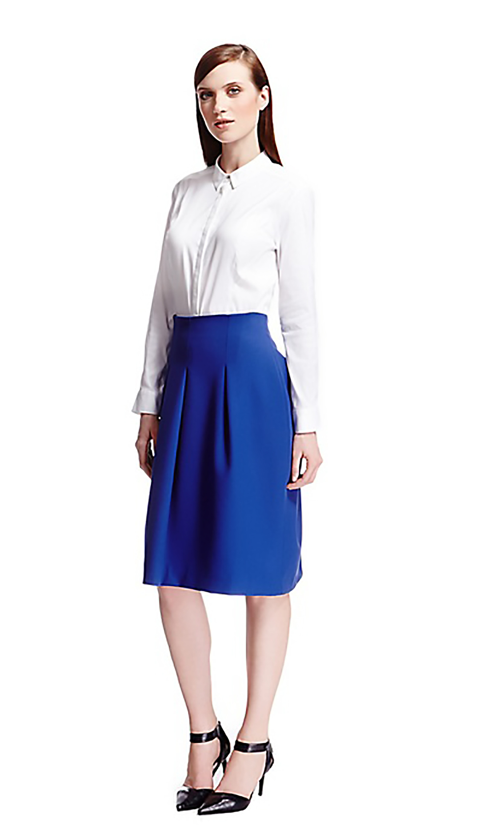 M&S autograph classic collar no peep shirt, knee length pleated skirt, leather pointed toe shoes M&S 1500.jpg