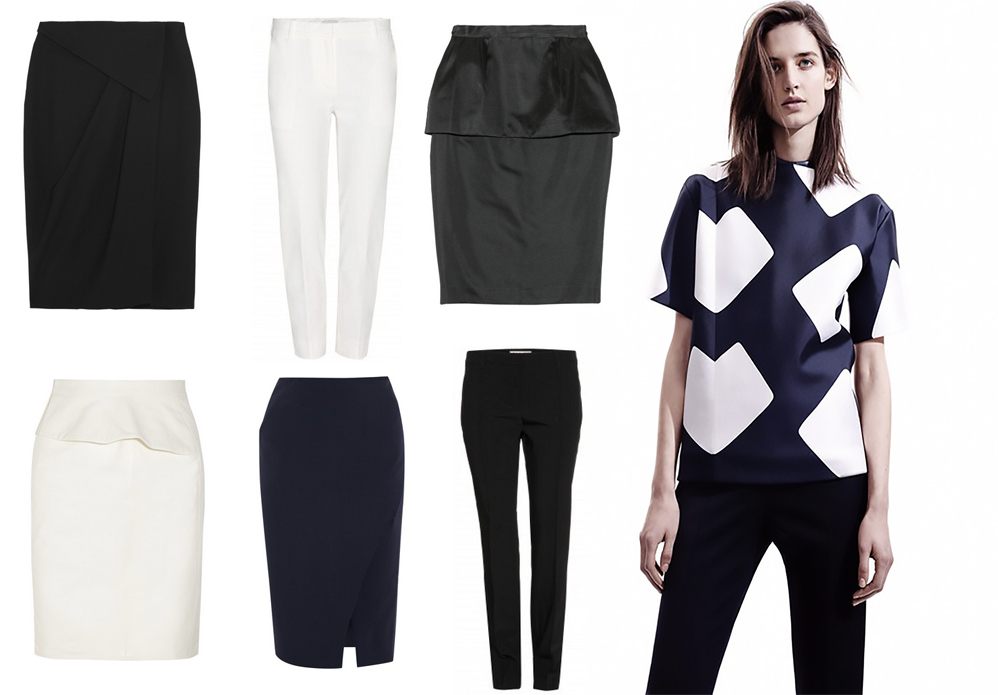 Something graphic on top is about as easy as it gets. Not sure what to pair with something like this Narciso Rodriguez top from Pre Fall 2014? Throw something basic on for bottoms, some simple pumps and you are ready for anything. For a little extra twist think a wrap skirt or a peplum. From top left The Outnet £332.50, MyTheresa $466, The Outnet £175 From bottom left The Outnet £856.90, The Outnet £464, MyTheresa $395