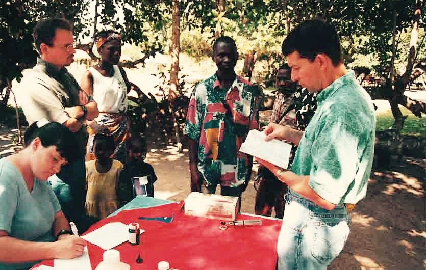 An early CRI team holds a medical camp in Mozambique (circa 2002).