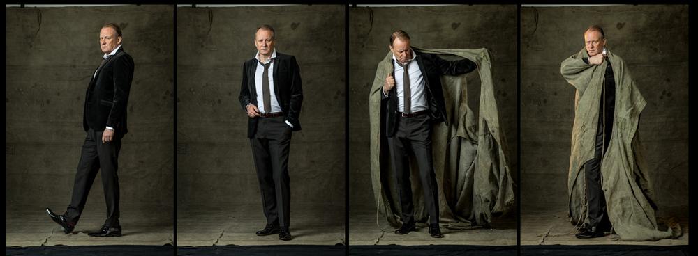 Stellan Skarsgård poserar skickligt, och hade inget emot att drapera sig med en liten oljepressenning.