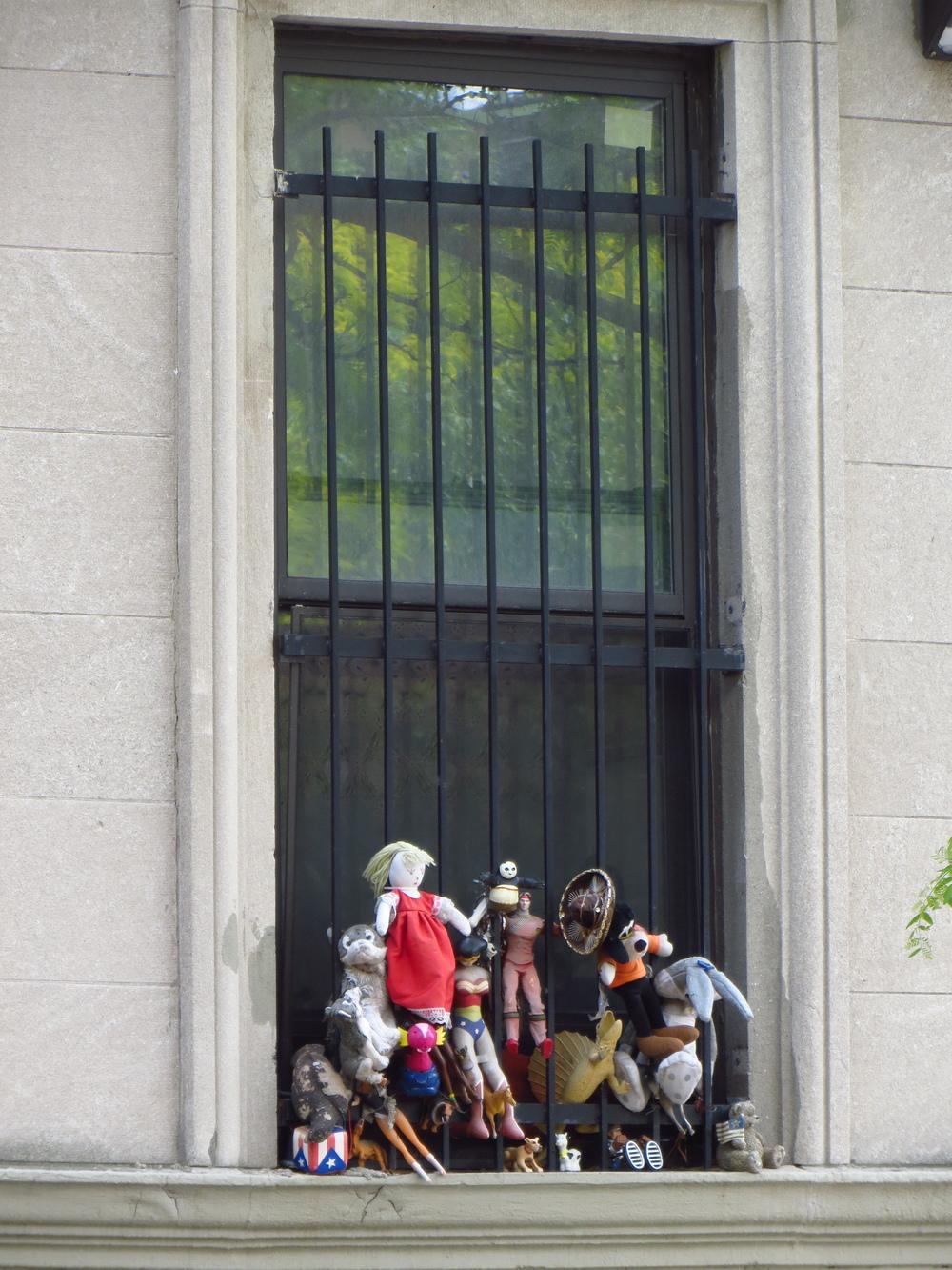 Toys in window