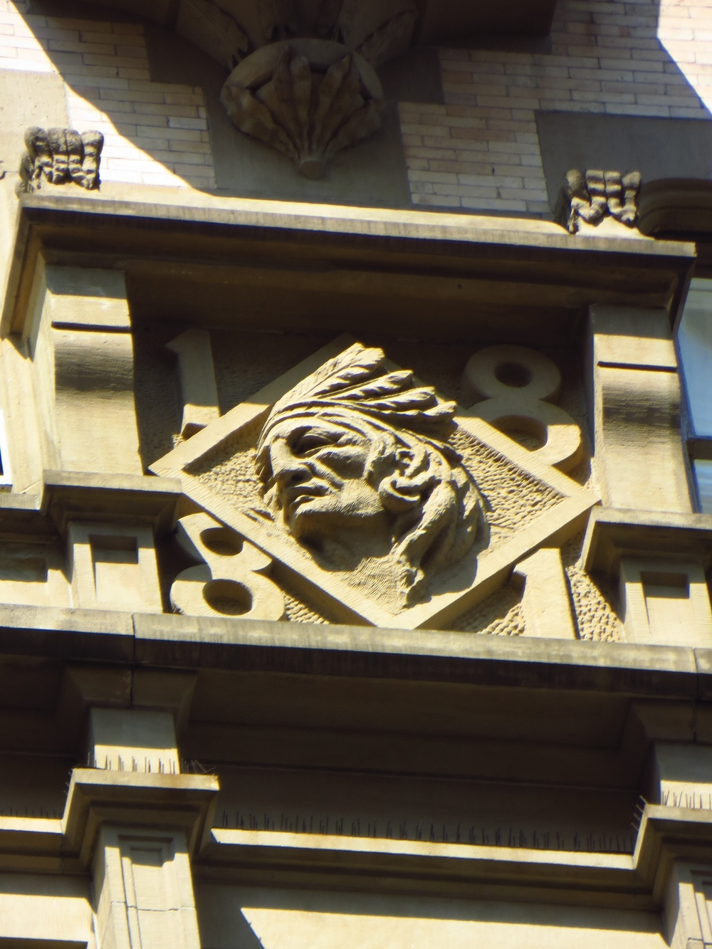 Indian head bas relief on the Dakota