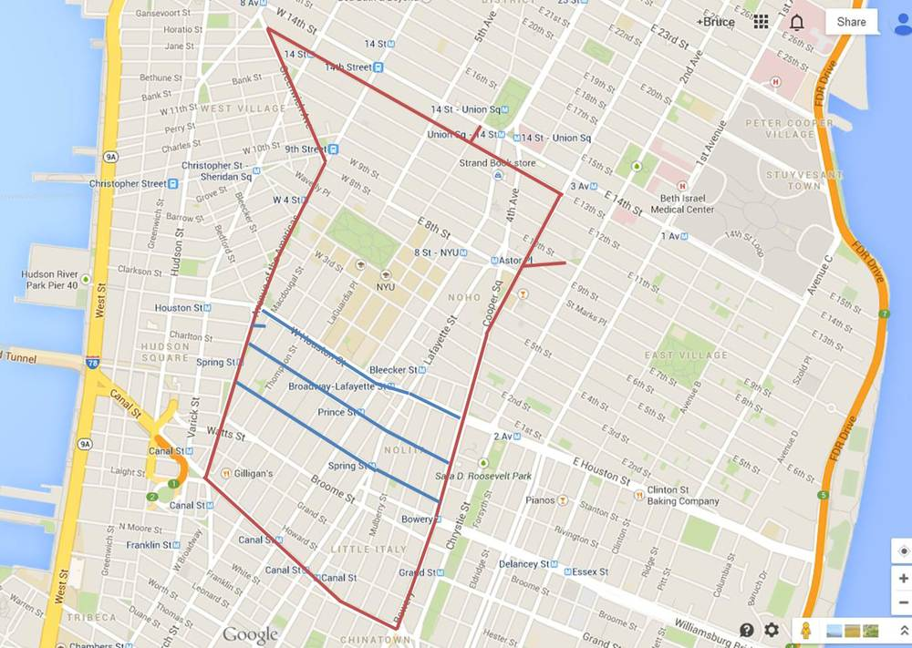 Today's walk (everything inside the red lines, 02/20/2014 portions in blue)