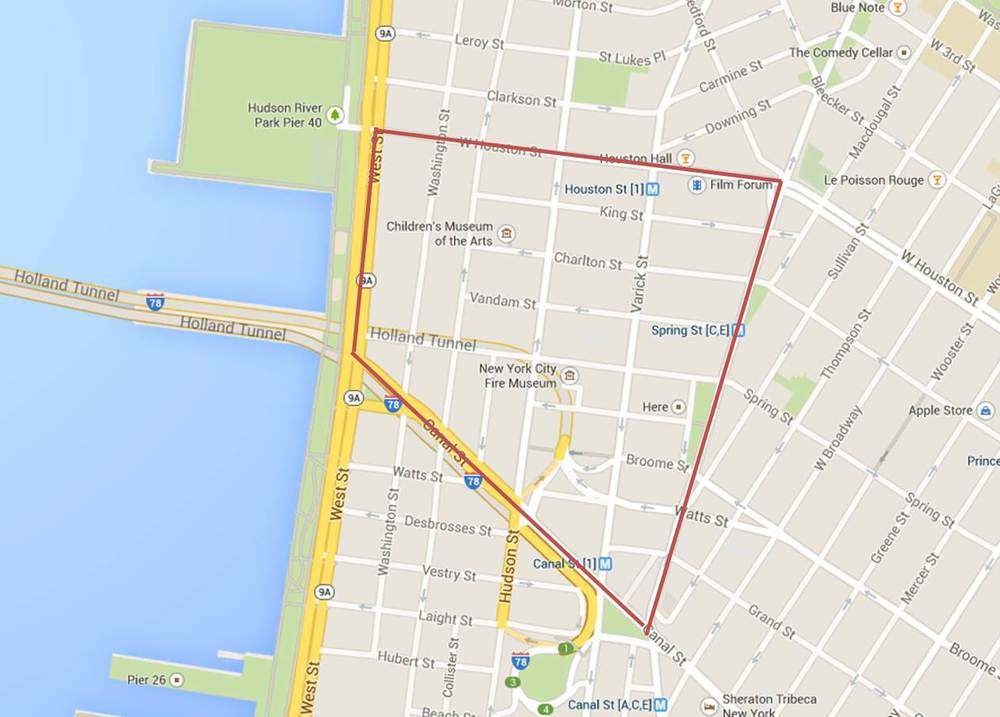 Today's walk (everything inside the red line)
