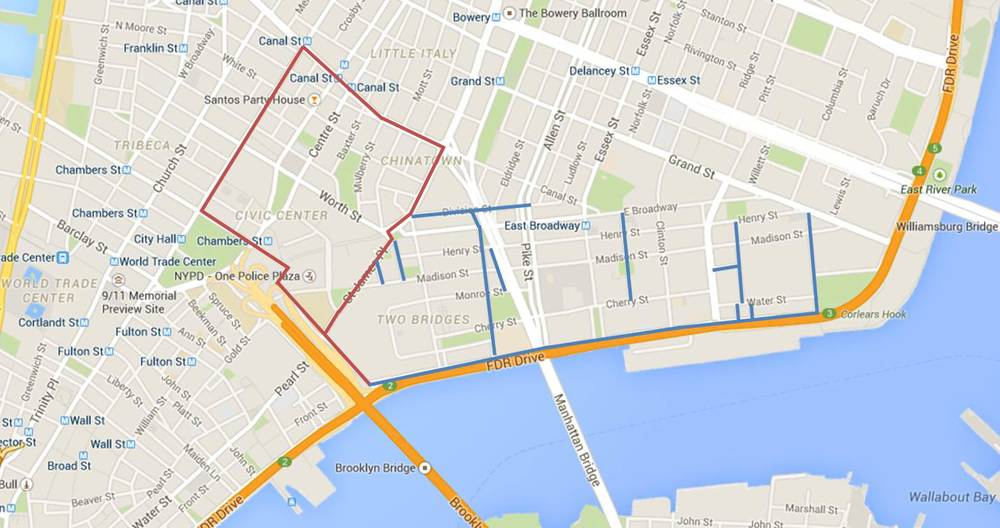 Today's walk (Chinatown and Civic Center portion in red, LES cleanup in blue)