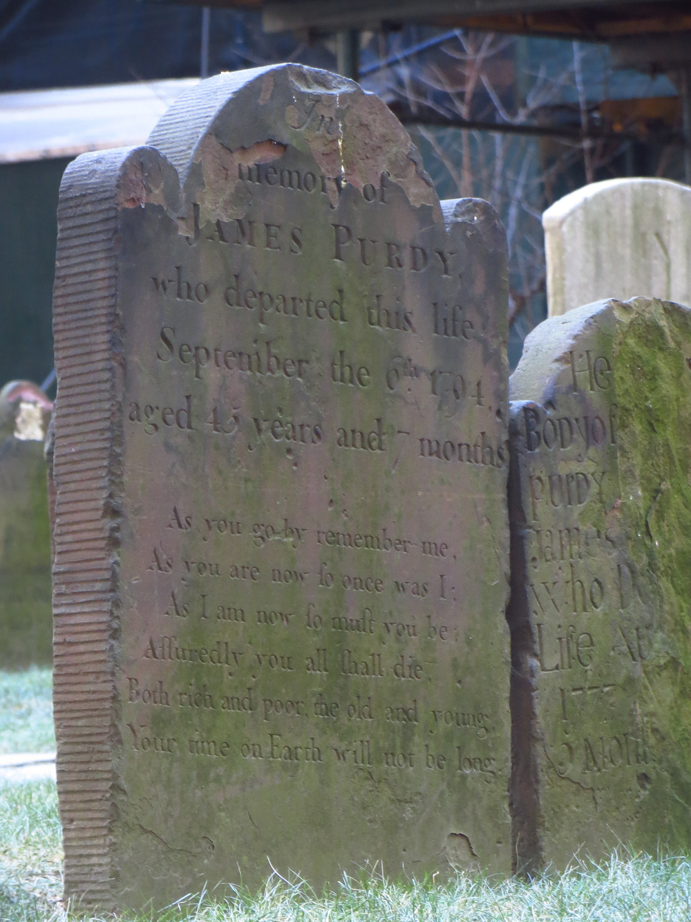 "Grave Stone of James ""Buzzkill"" Purdy (1749-1794) in Trinity Churchyard"