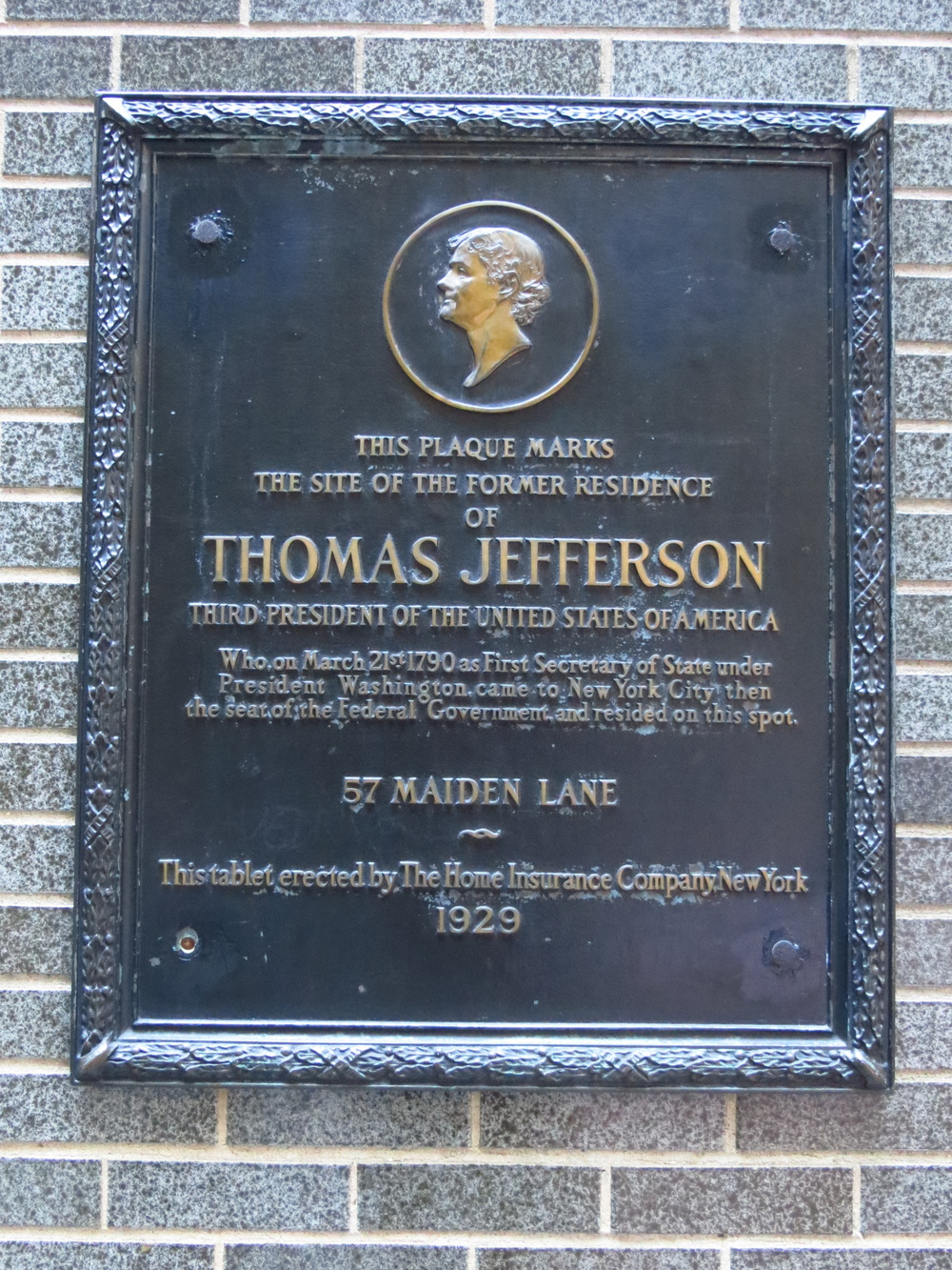 Former home of Thomas Jefferson (who hated New York)