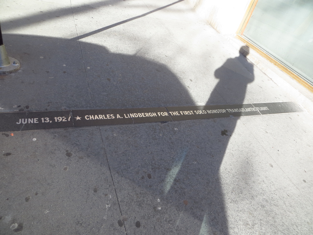 Marker commemorating the Broadway ticker-tape parade held for Charles Lindbergh