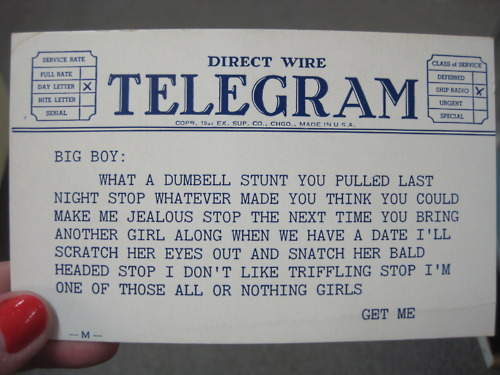 Vintage telegram bought at Broadway Antique Market for $1