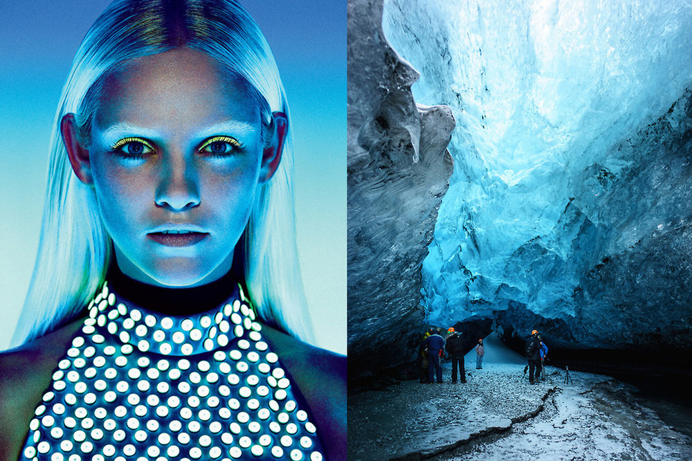 Ginta Lapina for US Vogue January 2013 by Sharif Hamza; Ice cave in Iceland photographed by Hsin-Ta Wu.