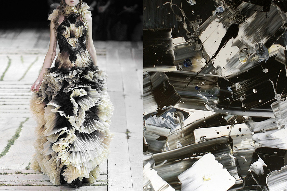 Alexander McQueen Spring 2011; Painting by Michele De Agostini.