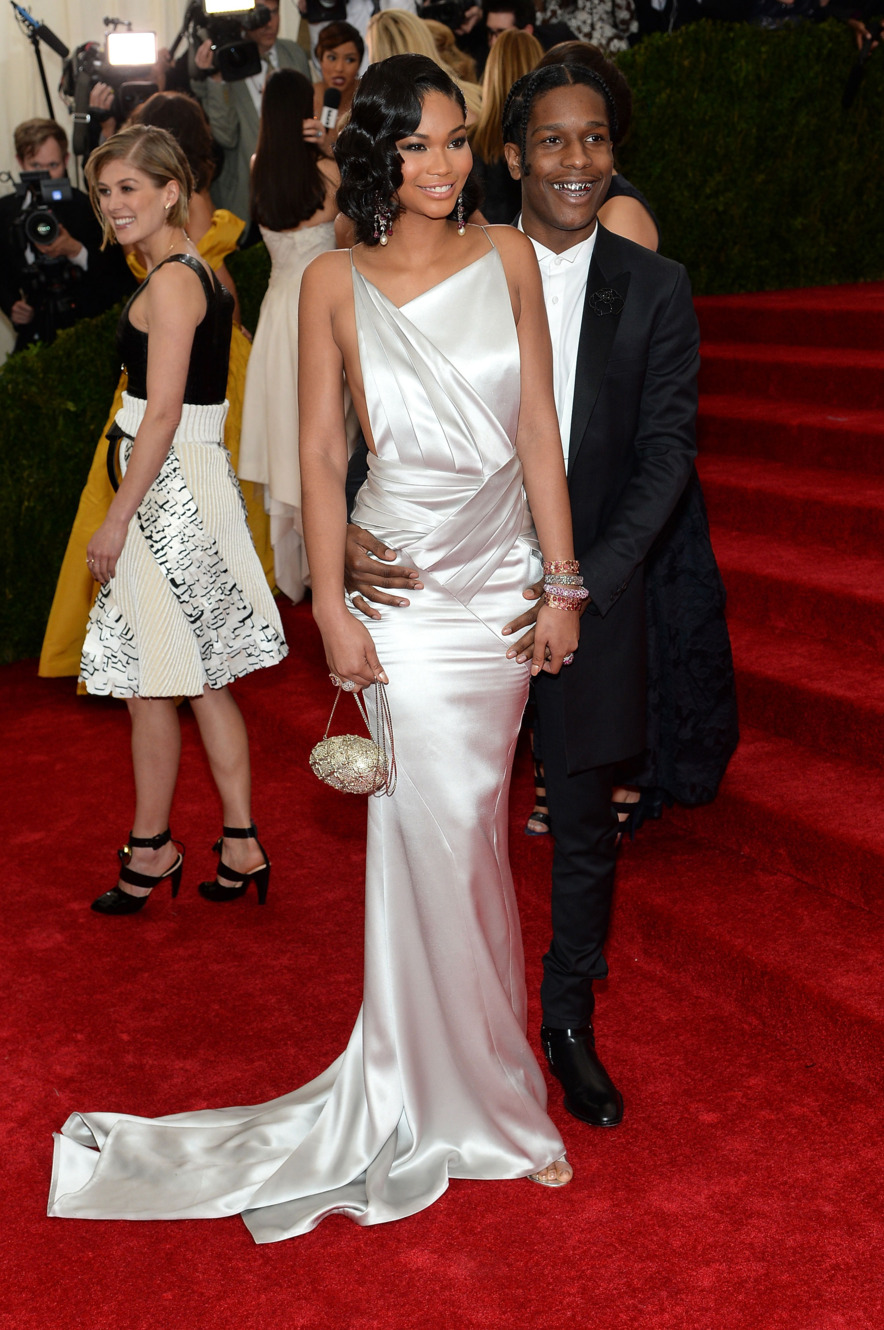 CHANEL IMAN IN TOPSHOP AND A$AP ROCKY IN TUXEDO BY TOPMAN