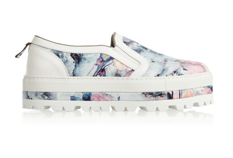 MSGM FLORAL-PRINT TWILL SLIP-ON SNEAKERS. $450