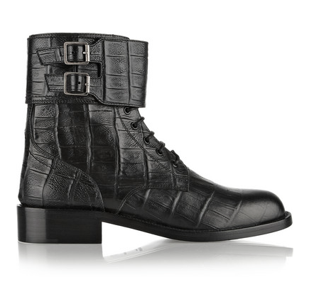 SAINT LAURENT CROC-EFFECT LEATHER ANKLE BOOTS. $1,495