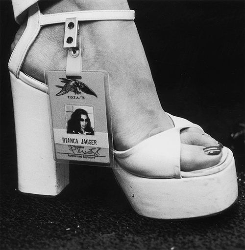 BIANCA JAGGER'S BACKSTAGE PASS FOR A 1975 ROLLING STONES CONCERT VIA TUMBLR