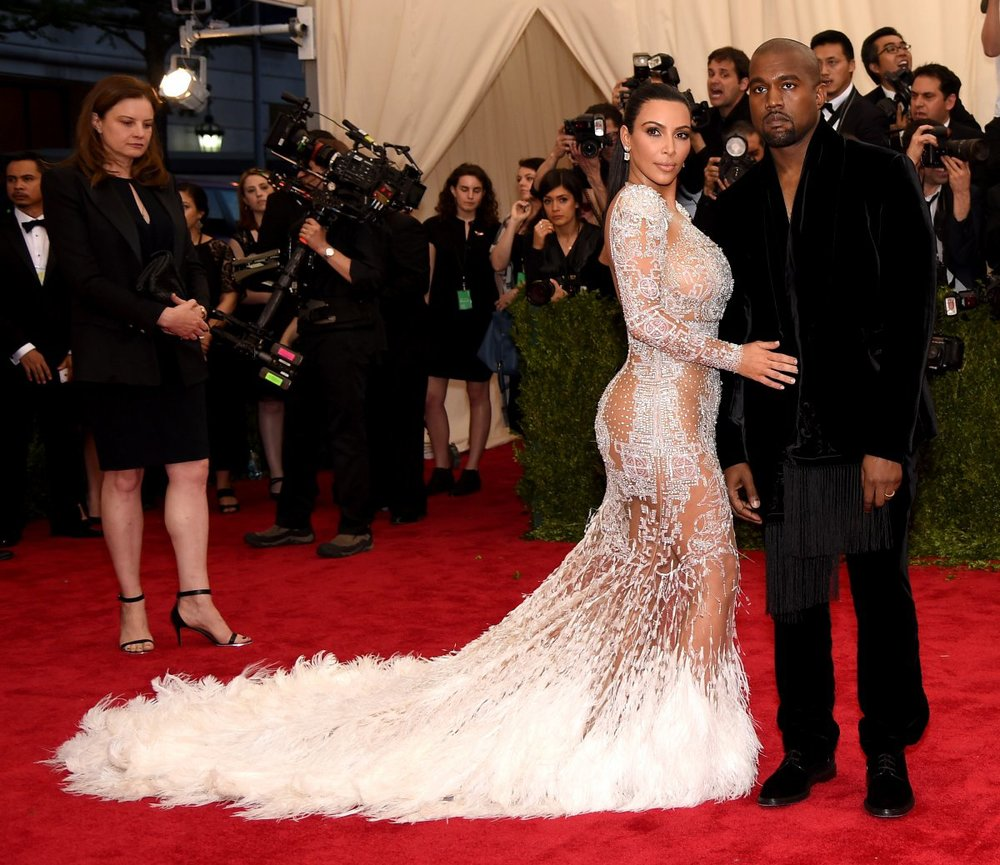 KIM KARDASHIAN WEST in PETER DUNDAS FOR ROBERTO CAVALLI with KANYE WEST
