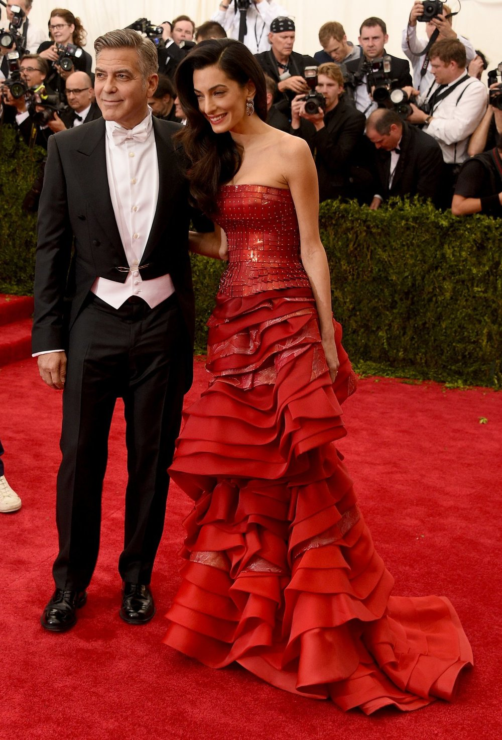 AMAL CLOONEY in JOHN GALLIANO FOR MASON MARGIELA with GEORGE CLOONEY