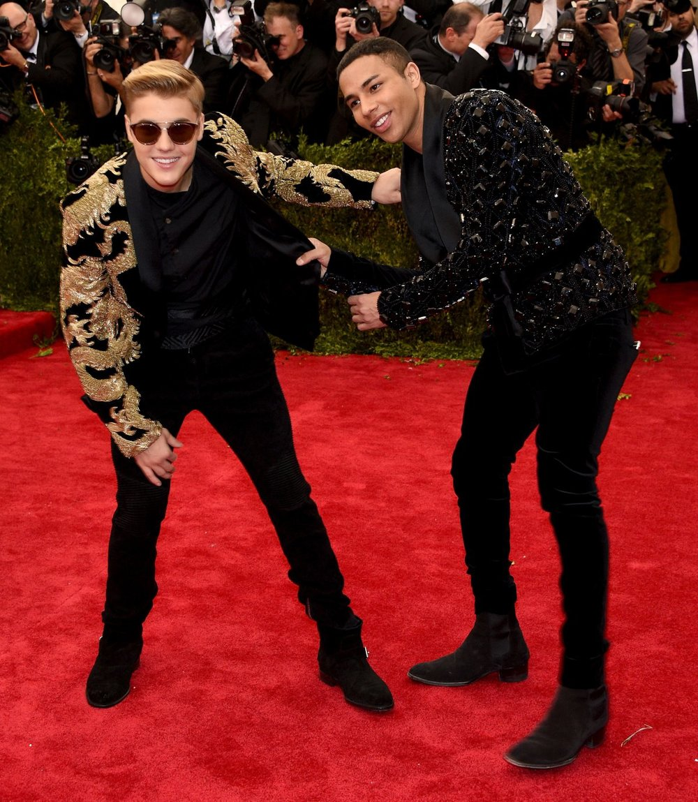 JUSTIN BIEBER with OLIVER ROUSTEING, both in BALMAIN