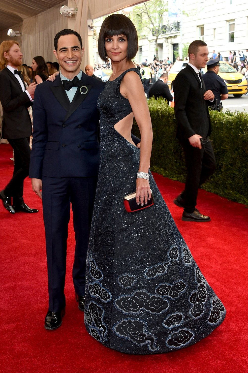 KATIE HOLMES in ZAC POSEN with CHOPARD jewelry, with ZAC POSEN himself