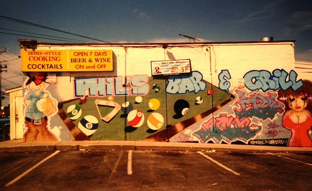 1998-Phil's Bar & Grill was a local neighborhood bar located at the corner of Rhode Island Ave. & Route 1 in the City of Beltsville. During the production stage, several calls were made to alert owner about the vandalism taking place at their local bar. Collaboration with DC's-graffiti bomber NCQ3.